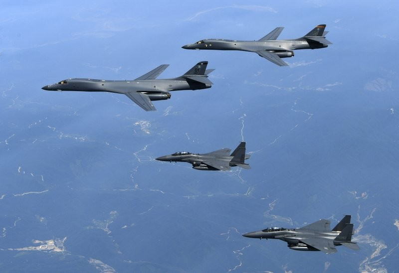 File photo of two USAF B-1B bombers (top)