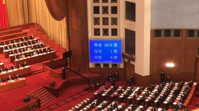 中國人大會議於28日表決港版《國安法》草案(圖片截自中國中央電視台畫面)