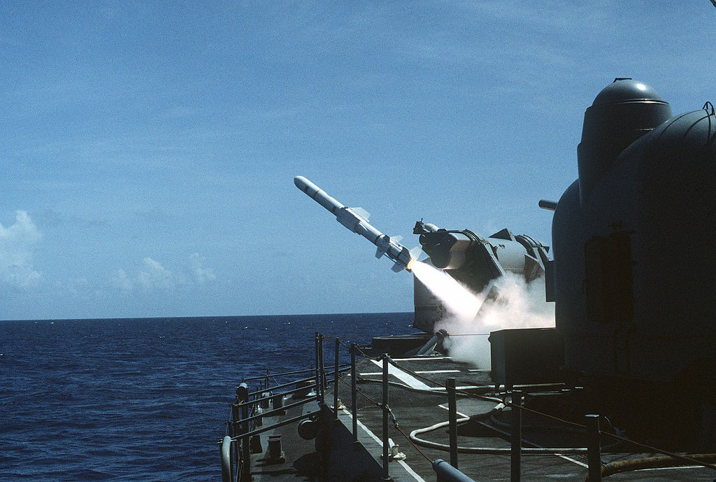 US Navy fires a Harpoon missileduring exercises near Puerto Rico