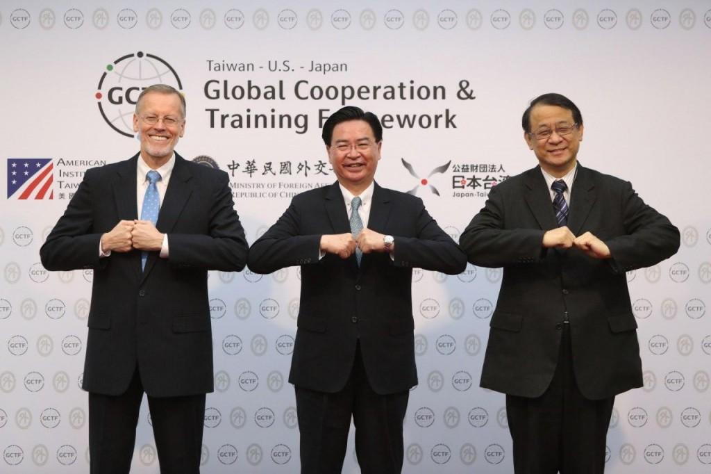 AIT DirectorBrent Christensen, Taiwan's Foreign Minister Joseph Wu, and Japan's Representative to Taiwan Hiroyasu Izumi. (MOFA photo...