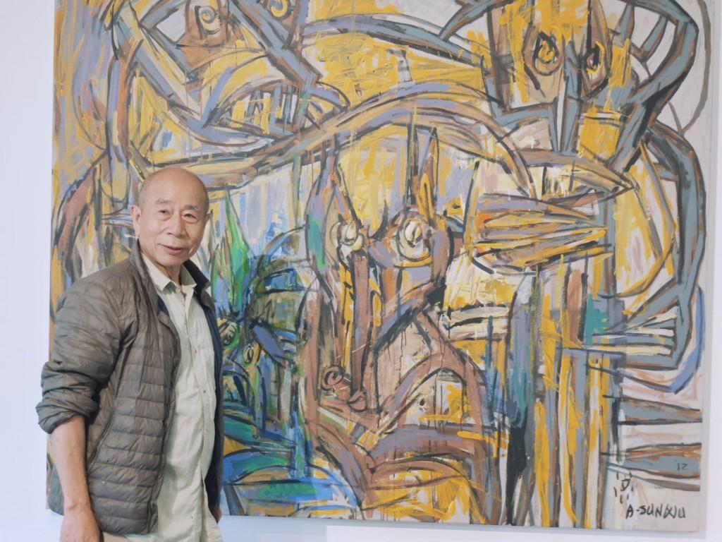 台灣重量級抽象藝術家吳炫三(圖)與妻子池上鳳珠推出「狂墨・青花・翻飛」聯展(圖/Taiwan News_Lyla)