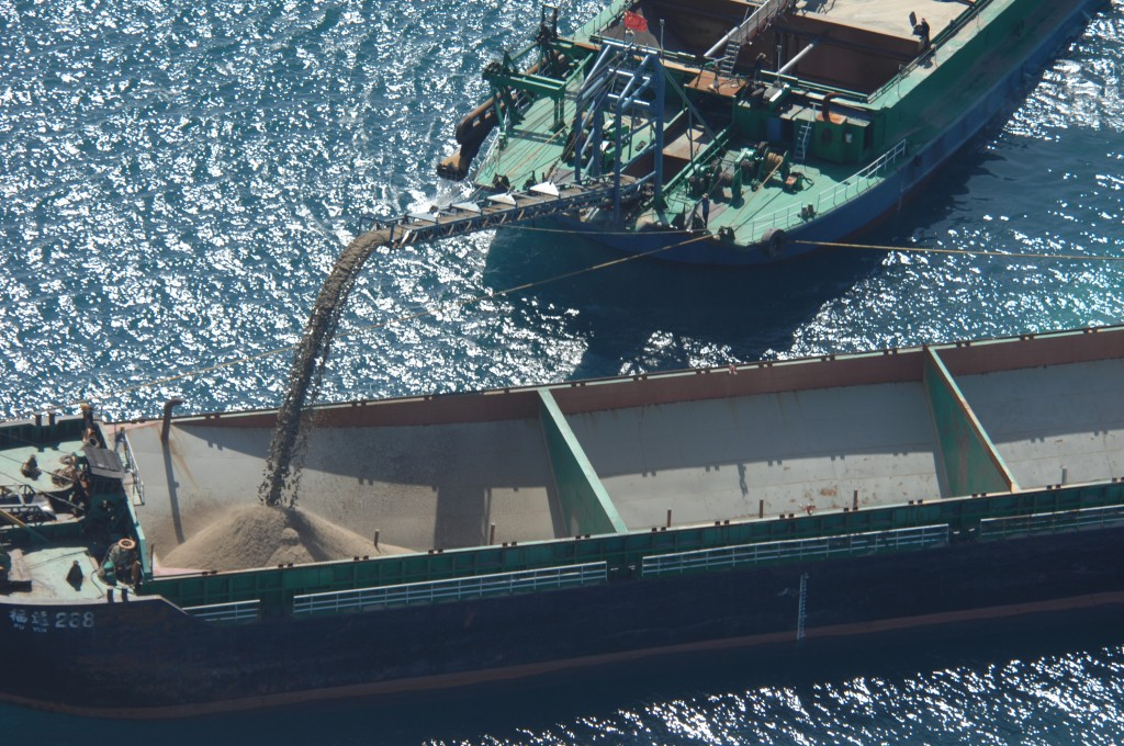 Illegal dredging by Chinese ships in the Taiwan Strait