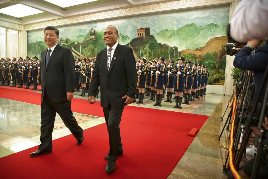 Kiribati President Taneti Maamau (right) is fighting for political survival following his switch to China.