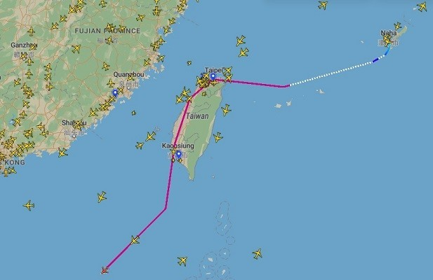 Route of CNV7642 reported by planefinder. (Planefinder screenshot)