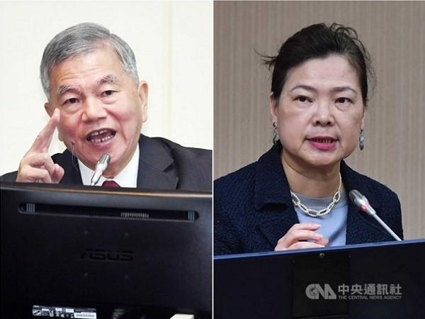 經濟部長沈榮津(左)接任行政院副院長,經濟部長遺缺由政務次長王美花(右)升任。