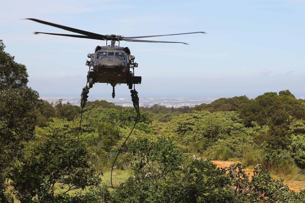 A Black Hawk helicopter taking part in special forces drills in Hsinchu County Friday June 19