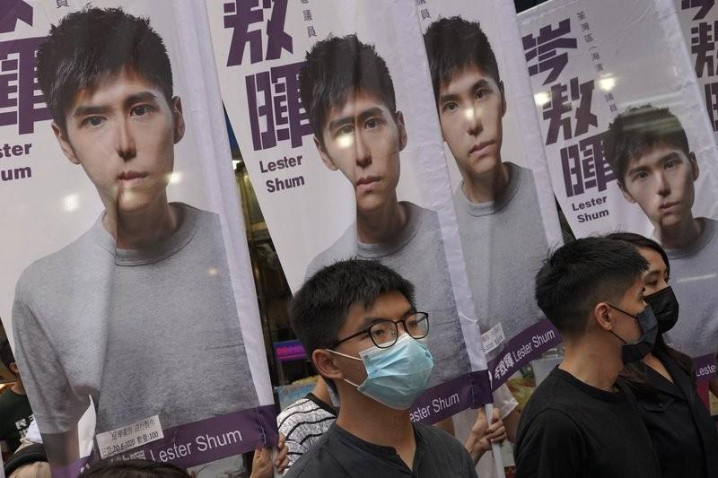 Hong Kong activist Joshua Wong attends an activity for the upcoming Legislative Council elections in Hong Kong Saturday, June 20, 2020.