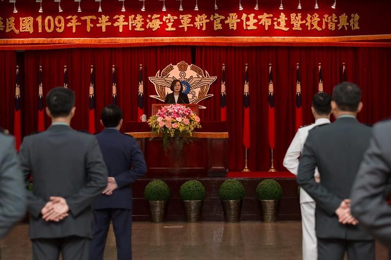 總統蔡英文23日出席陸海空軍將官晉任布達暨授階典禮(照片來源:總統府提供)