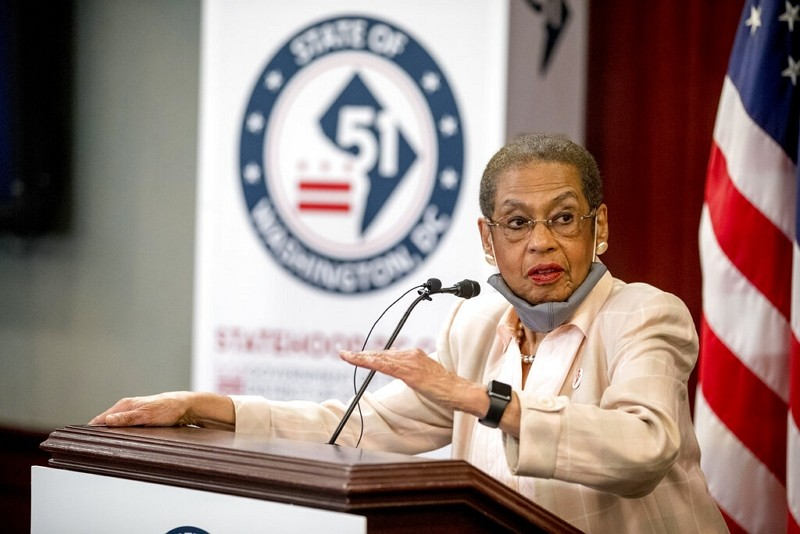 Delegate Eleanor Holmes Norton, D-D.C., speaks at a news conference on District of Columbia statehood on Capitol Hill, June 16, 2020.