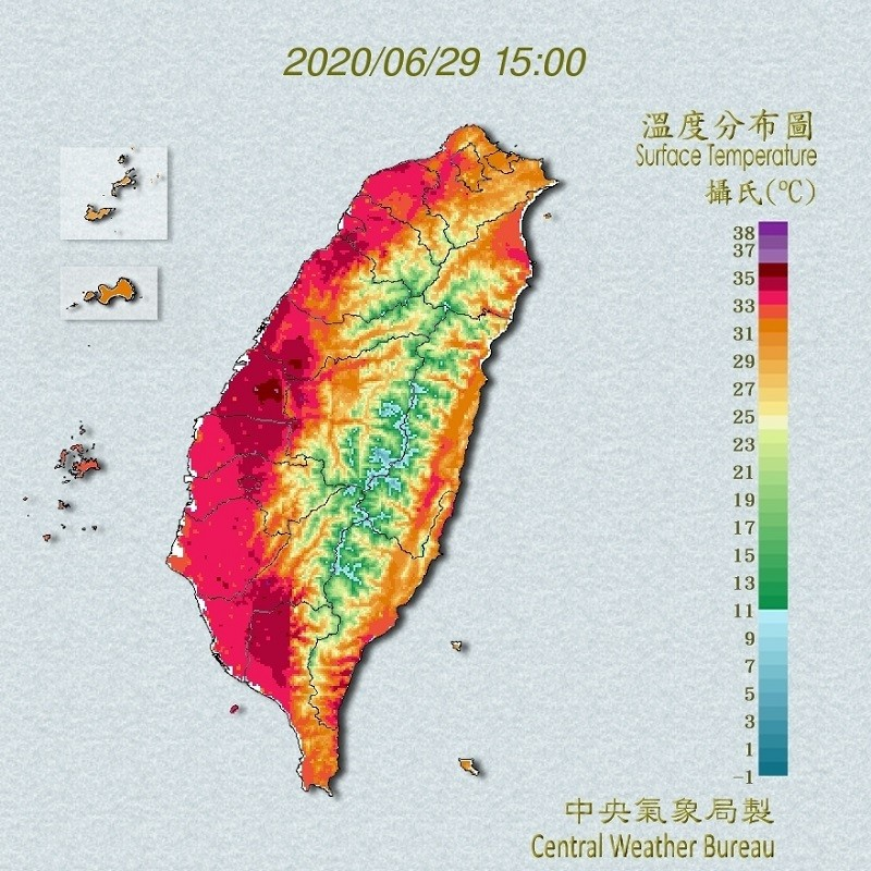此為29日15時的溫度分布圖 (中央氣象局)
