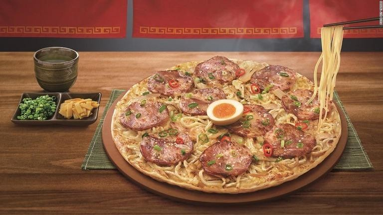 Ramen pizza. (Pizza Hut Taiwan photo)