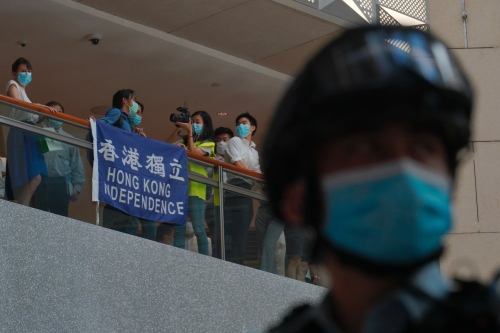 Protesters against the national security law at a Hong Kong shopping mall Tuesday June 30