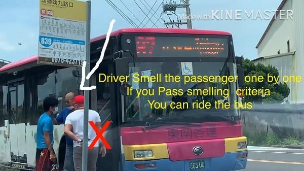 Driver smelling passengers. (YouTube,Jaye TV taiwanscreenshot)