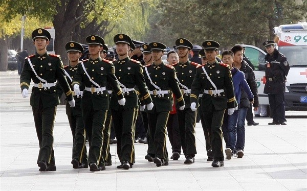 Chinese armed police trained as military, responsible for domestic emergencies.