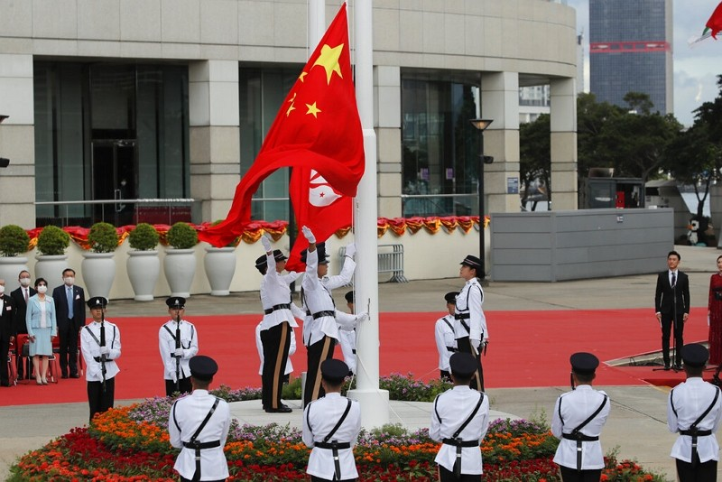 A flag raising ceremonyat the Golden Bauhinia Square to mark the anniversary of the Hong Kong handover to China on July 1, 2020.