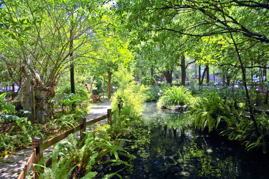 義美南崁觀光工廠園區生態池。