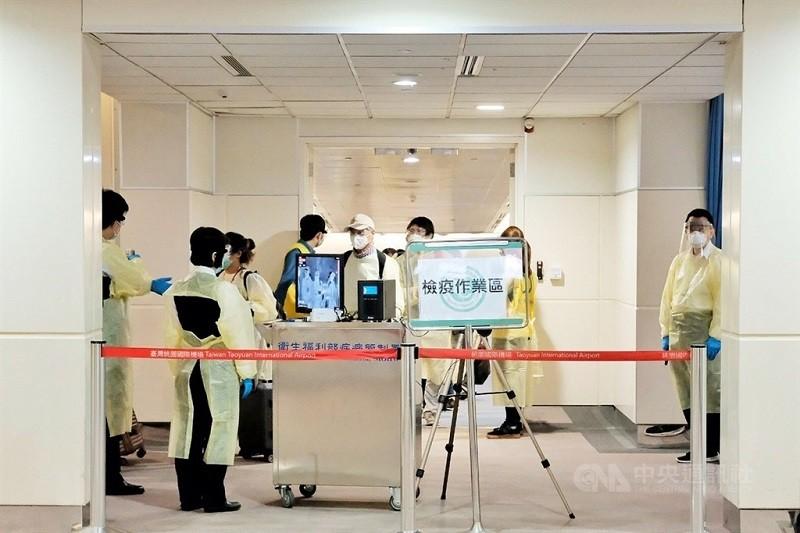 圖為桃園機場檢疫作業區 (中央社檔案照片)