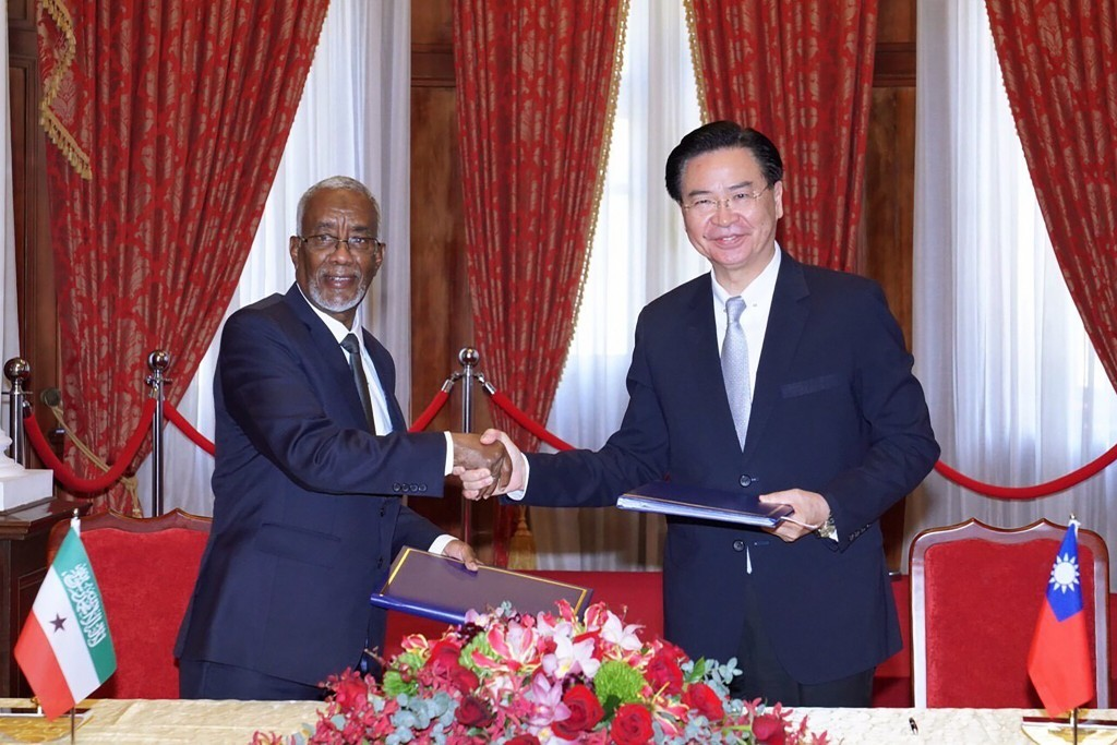 Taiwan and Somaliland signing agreement in Taipei on Feb. 26, 2020