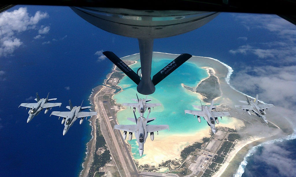 F/A-18C Hornet jets being refueled over Wake Island (Wikicommons photo by USAF)