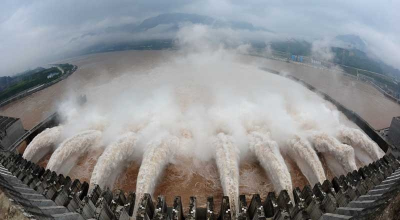 Three Gorges Dam floodgates in Yichang, China