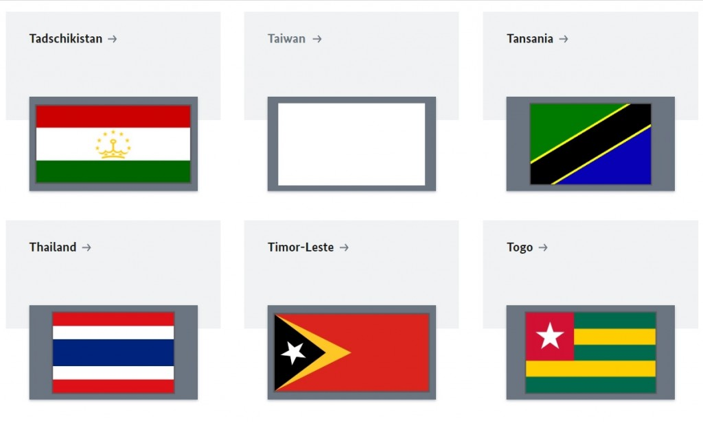 Blank space under the Taiwan flag. (Federal Foreign Office screenshot)