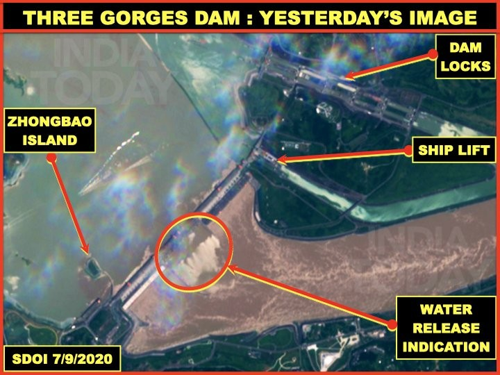 July 9 image appearing to show all floogates open. (India Today image)