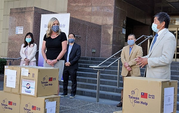 TACCLA presents 400,000 mask donations to Los Angeles County Tuesday.