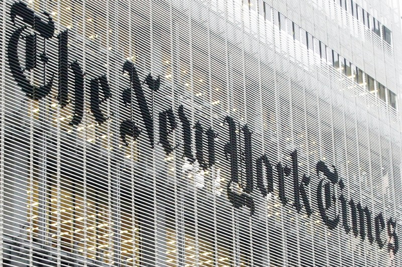 New York Times logo on the company's building in New York