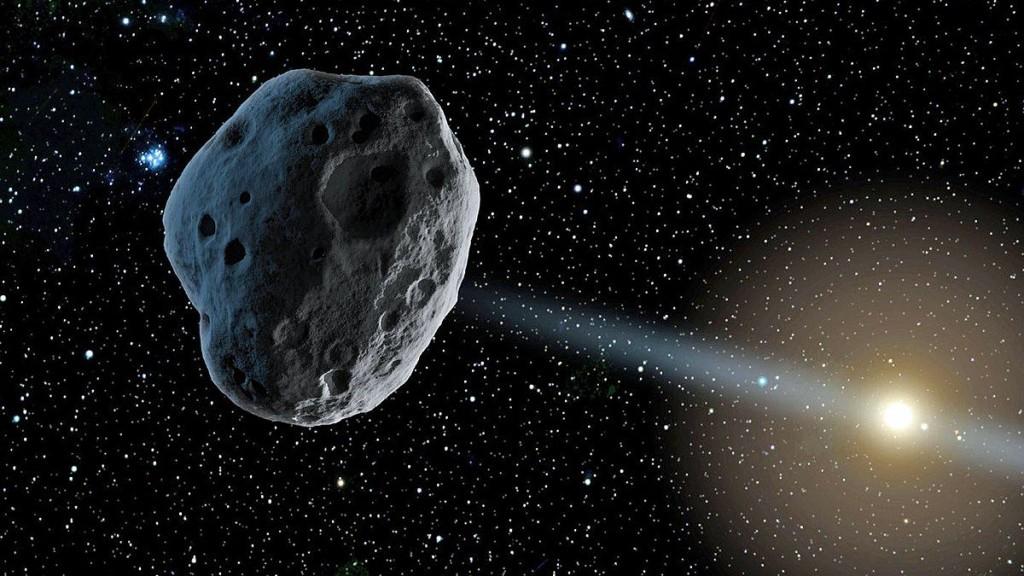 「台北天文館」小行星的示意圖。(台北天文館提供)