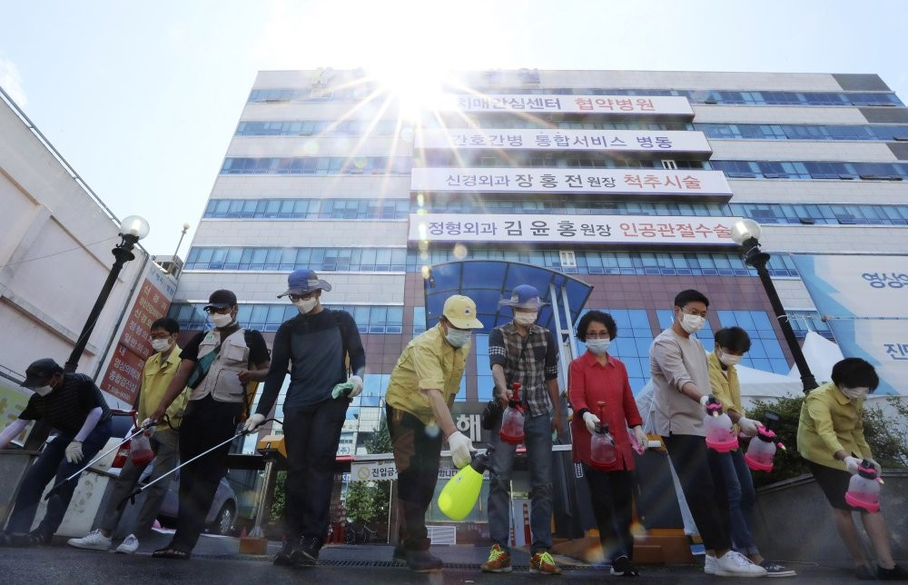 Disinfecting a hospital in South Korea