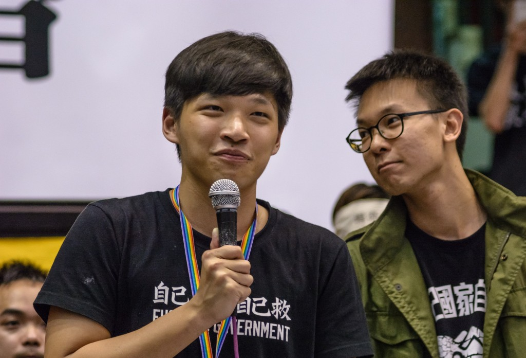 Sunflower Movement leaders Chen Wei-ting (left) and Lin Fei-fan (right)