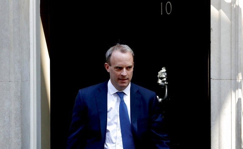 In this Wednesday April 22, 2020 file photo, Britain's Foreign Secretary Dominic Raab leaves 10 Downing Street, London.
