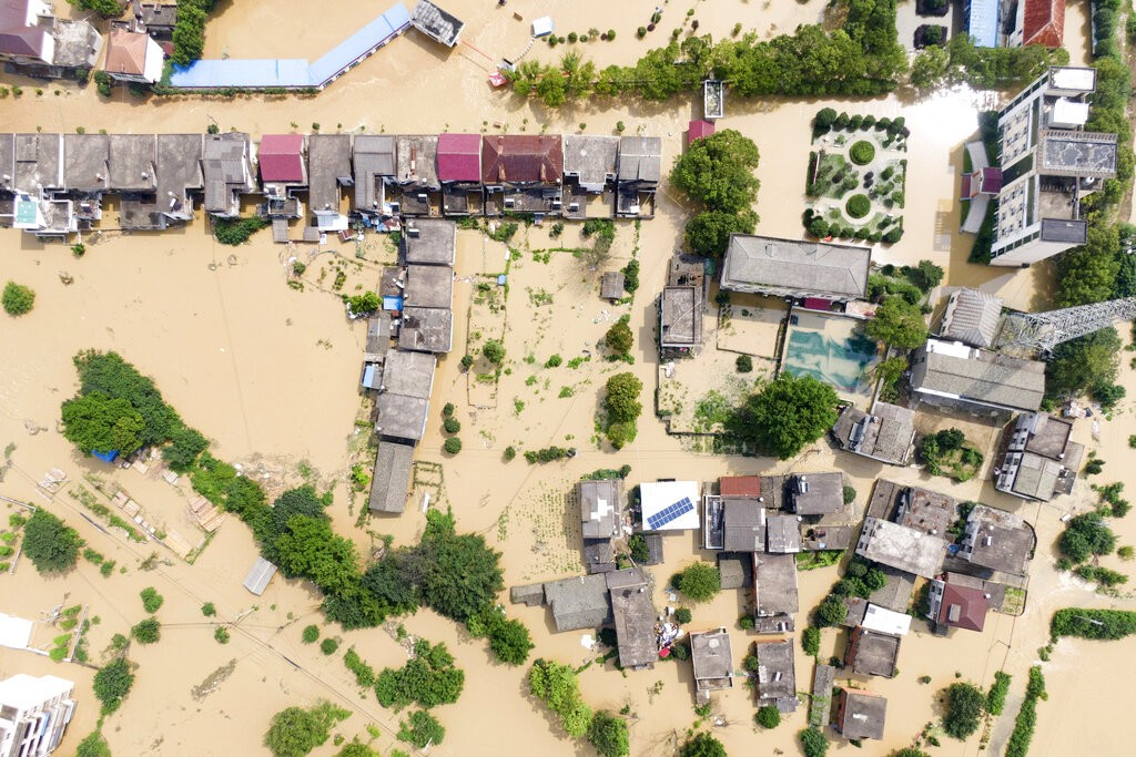 Village flooded in Sanjiao Township of Yongxiu County in eastern China's Jiangxi Province.