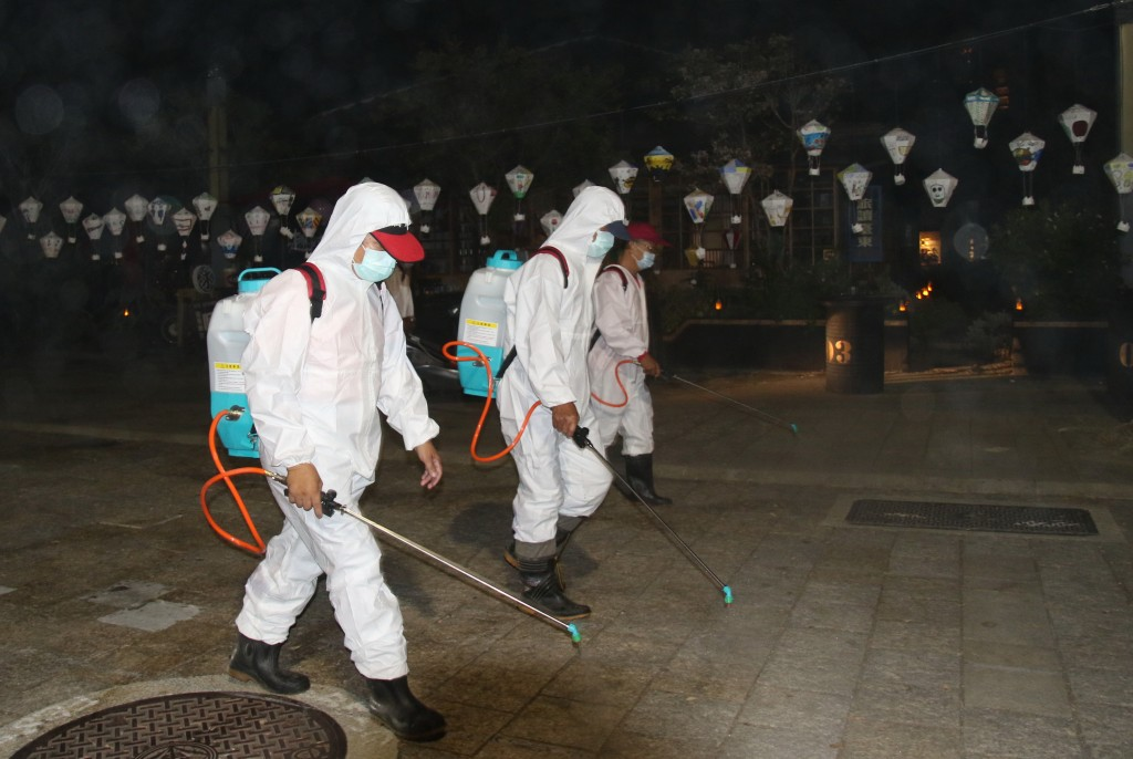 Disinfecting a tourist area in Taitung
