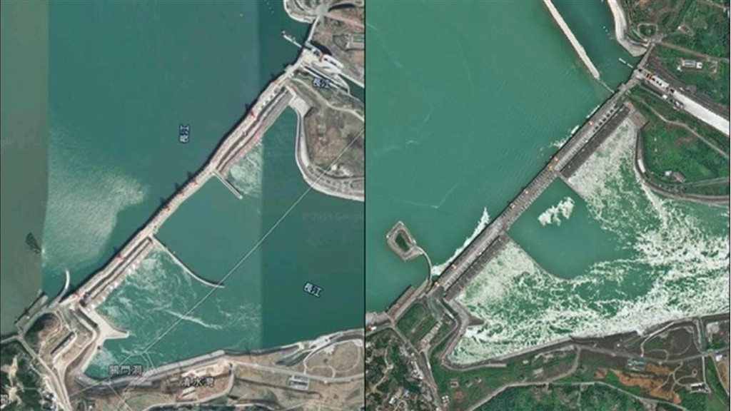 Controversial Google Maps image (left), CASC map (right).
