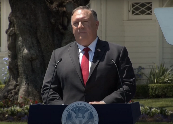 Mike Pompeo gives speech on China at Richard Nixon Library. (YouTube, U.S. Department of State videoscreenshot)