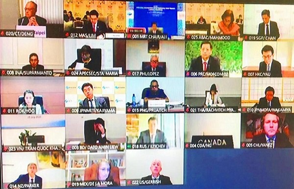 Minister without Portfolio John Deng (top left) joins members from 20 other economies during virtual APEC Ministers Responsible for Trade Meeting July...
