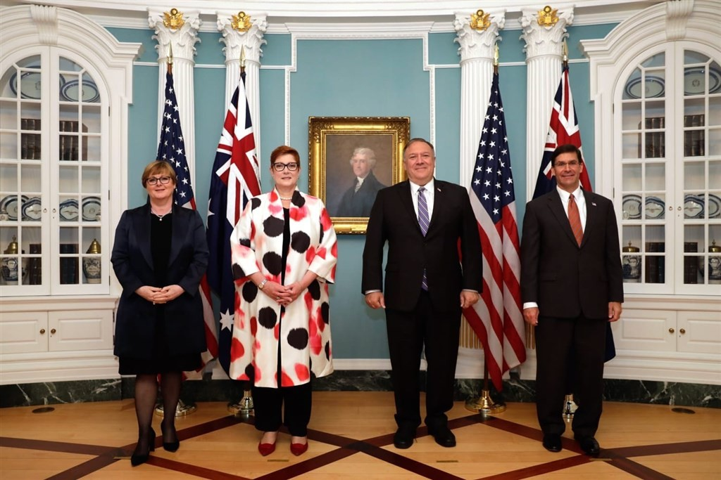 Reynolds (left), Payne (second from left), Pompeo (second from right), Esper (right). (Twitter, Marise Payne photo)