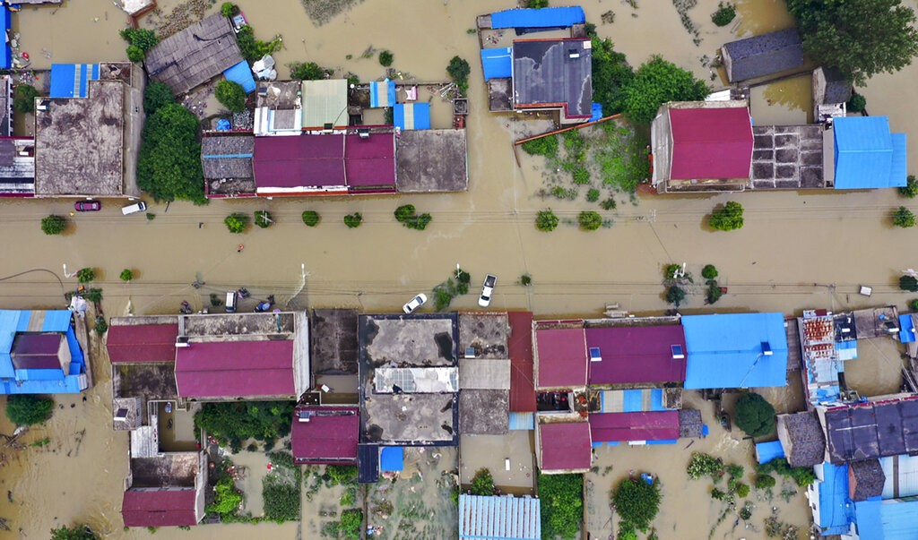Flooding in Guzhen Town of Lu'an City in eastern China's Anhui Province.