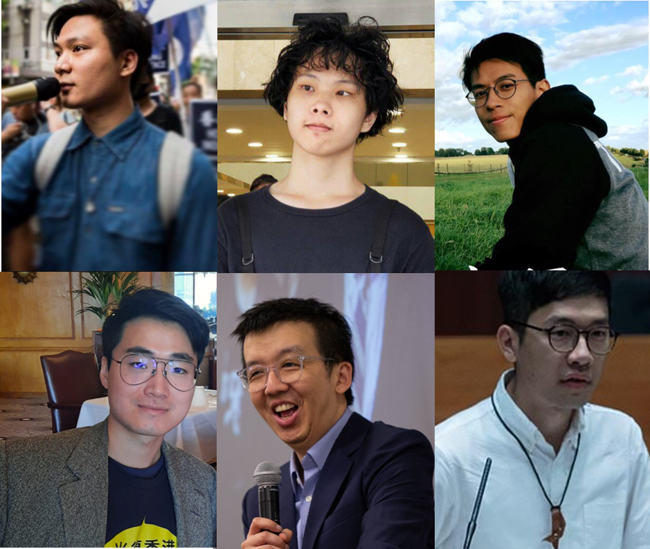 "Six activists wanted by HK police, from top left, <a href=""https://www.facebook.com/%E9%99%B3%E5%AE%B6%E9%A7%92-Wayne-Chan-Ka-Kui-100706081646792/"" target=""_blank"">Wayne Chan</a>, <a href=""https://www.facebook.com/honcqueslaus"" target=""_blank"">Honcques Laus</a>, <a href=""https://www.facebook.com/ray.wong.3785"" target=""_blank"">Ray Wong</a>, <a href=""https://www.facebook.com/nightkero"" target=""_blank"">Simon Cheng</a>, <a href=""https://twitter.com/samuelmchu"" target=""_blank"">Samuel Chu</a>, <a href=""https://www.facebook.com/NathanLawKC"" target=""_blank"">Nathan Law</a>."