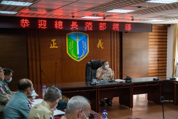 Chief of General Staff Huang Shu-kuang at Friday's military briefing in Hualien. (Military News Agency photo)