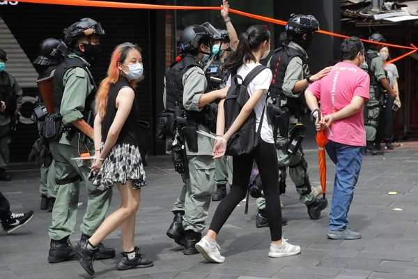 Hong Kong protestors arrested on first day of national security law.