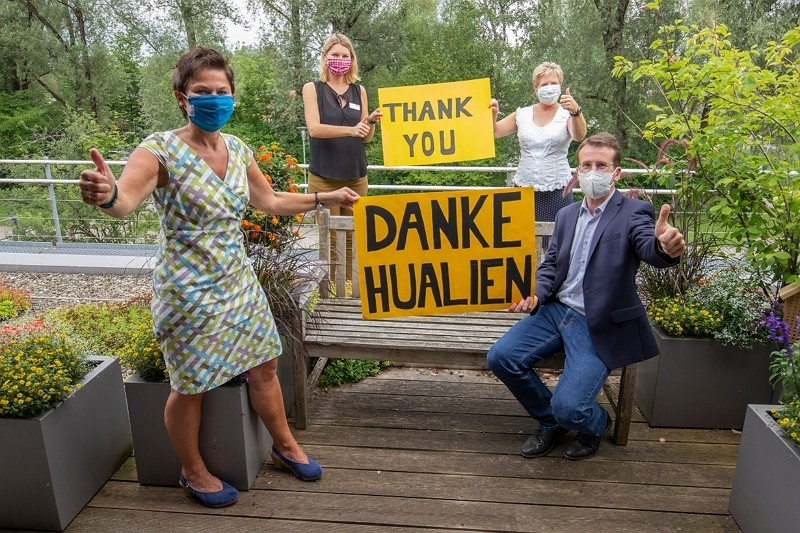 Officials from Germany's Starnberg thank Taiwan for its help. (Hualien County Government photo)