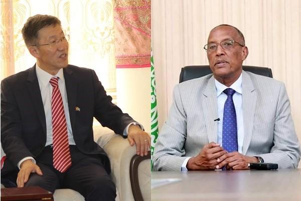 China Ambassador Qin Jian, Somaliland President Muse Bihi Abdi(Twitter, @MofaSomalia, Wikimedia Commons)