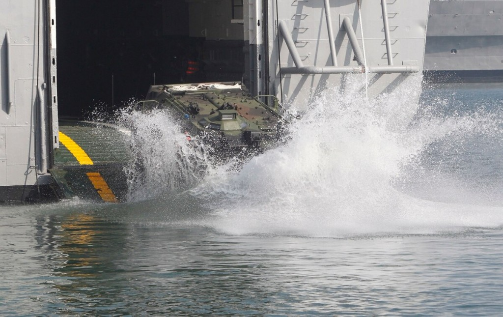 An AAV7 amphibious vehicle during drills in Taiwan