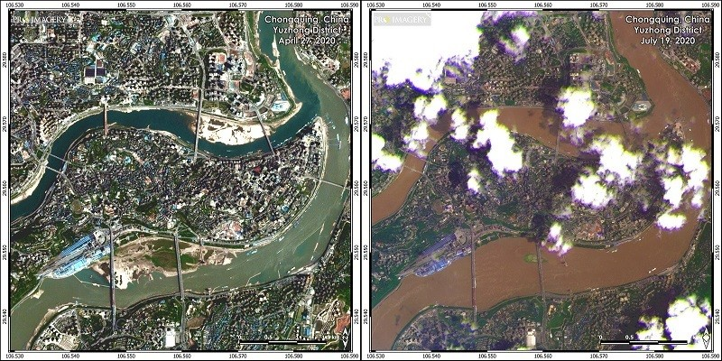 Chongqing April 27 (left), July 19 (right). (ProImagerysatellite images)