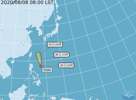 熱帶性低氣壓路徑預報(圖片來源:中央氣象局)
