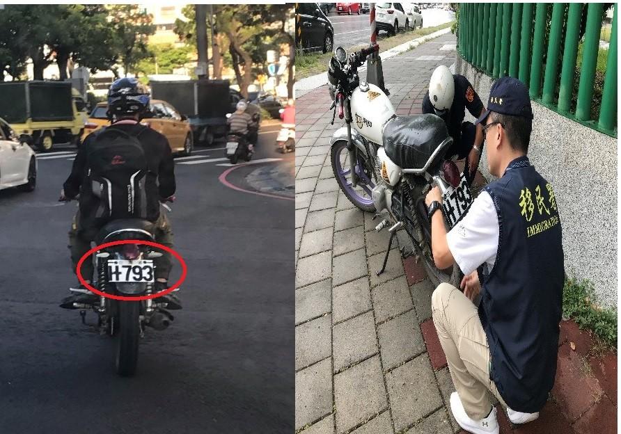 警方注意到,移工阿華的不但尺寸與正常車牌明顯不同,號碼竟還使用麥克筆手繪塗鴉,整台車在道路中行駛顯得相當突兀。(圖/ 移民署高雄市專勤隊提...