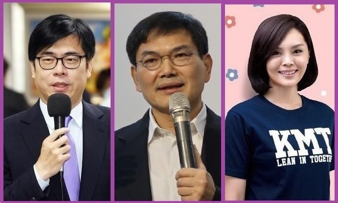 高雄市長補選號次依序為左起:(1號) 民進黨陳其邁、(2號) 民眾黨吳益政、(3號) 國民黨李眉蓁。