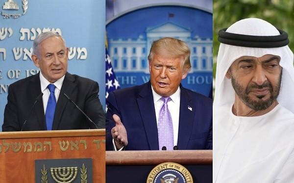 照片左起:以色列總理尼坦雅胡、美國總統川普、阿布達比邦王儲穆罕默德。(左圖與中圖取自美聯社、右圖取自twitter.com/mohamed...